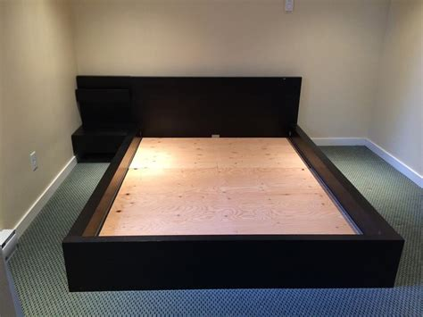 malm platform bed ikea malm queen bedframe with attached night stand