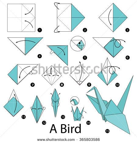 Steps To Make A Paper Bird - step by step how make stock vector 365803586
