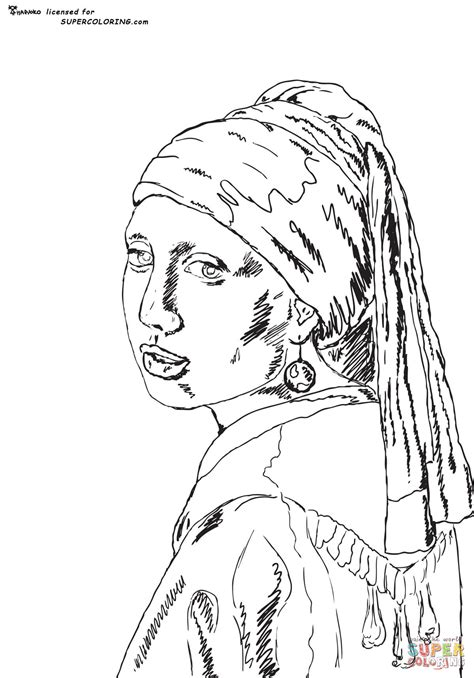 The Girl With The Pearl Earring By Johannes Vermeer With The Pearl Earring Coloring Page Printable