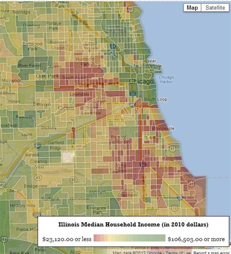 chicago segregation map chicago map by income