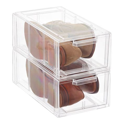 Shoe Storage With Drawers by Clear Stackable S Athletic Shoe Drawer The