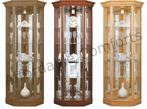 corner glass display cabinet oak doors oak corner display cabinets with glass doors