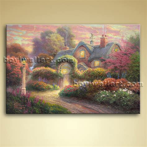 classical abstract landscape painting on canvas wall