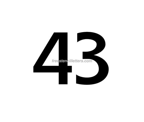 Frse Black 43 print number 43 letter stencil free stencil letters