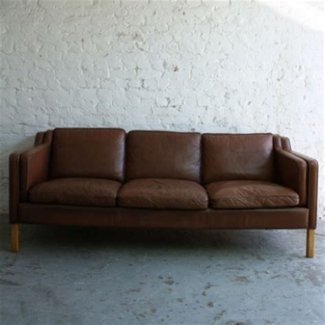 tan brown leather sofa vintage mogensen style 3 seater light brown tan leather