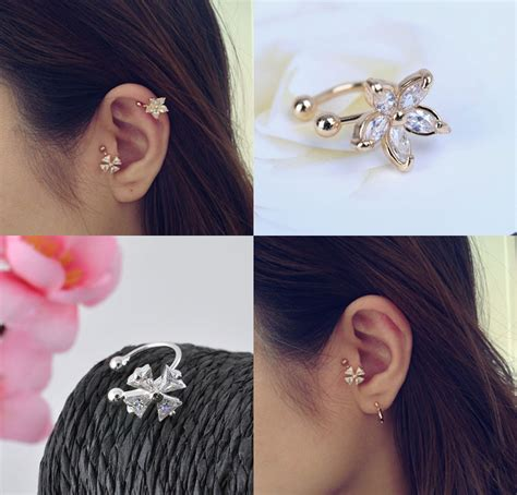 Anting Earrings Earcuff Gold Flower single clover flower gold silver ear cuff