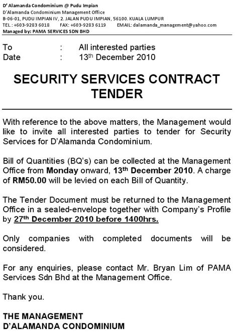 Sle Contract Letter For Security Services Security Services Contract Tender D Alamanda Pudu Impian Iv