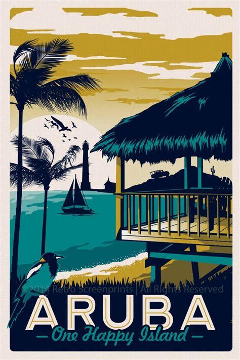 Plakat Retro by Aruba Retro Vintage Travel Poster By