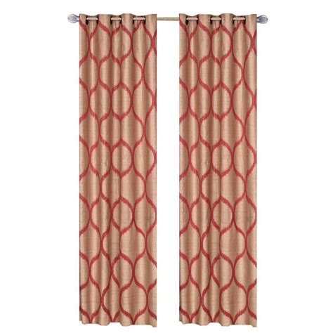 rust colored l shades lavish home rust metallic grommet curtain panel 84 in