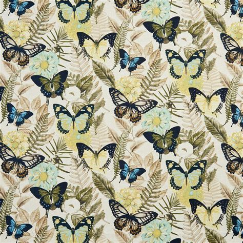 printable fabric b0470b yellow and blue large butterflies print upholstery