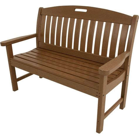 all weather bench hanover avalon 48 in teak all weather patio porch bench