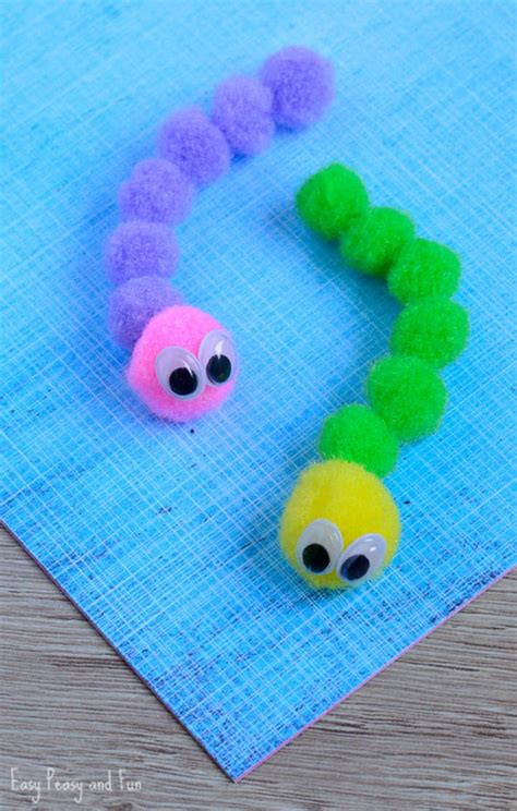 pom pom craft for pom pom caterpillar craft easy peasy and