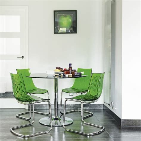 modern dining room with green accessories dining room