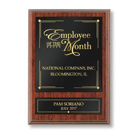 the plaque for the alternates is in the room traditional employee of the month individual plaque hrdirect