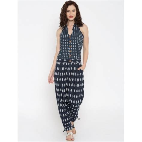 Jumpsuit Cotton Motif buy weaves navy blue cotton printed jodhpuri jumpsuit looksgud in