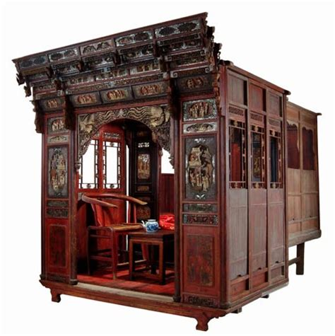 antique bed antique asian furniture rare carved canopy bed with alcove from zhejiang province china