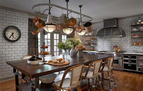 Kitchen Island With Table Seating pot rack over kitchen island dining table eclectic kitchen