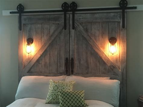 diy door headboard cheaper and better diy barn door headboard and faux barn