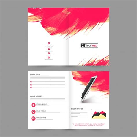 four page brochure template four pages brochure template layout with abstract brush