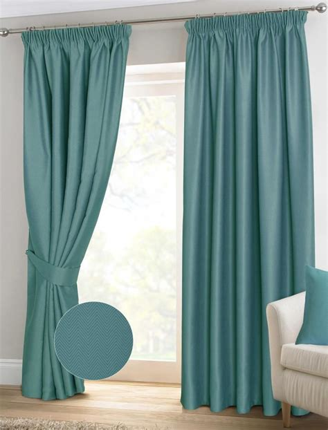ready made teal curtains teal herringbone chevron pencil pleat blackout thermal