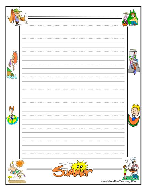 summer writing paper template grade writing paper with borders 1000 images about