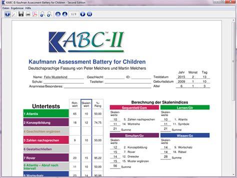Kabc Ii Auswertungsprogramm Kabc Ii Report Template