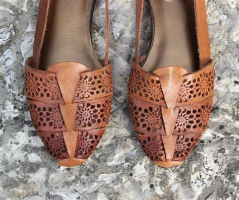 Slip On Bohemian Style 1 vintage brown leather sandals boho hippie slip on shoes womens size 6 1 2 flats vintage and