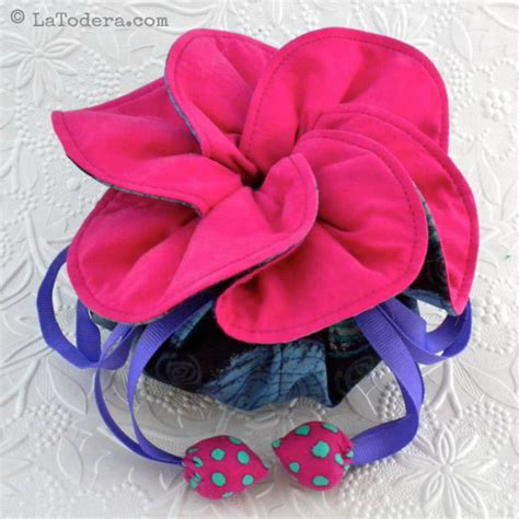 Pattern For Fabric Jewelry Pouch | jewelry pouch pattern fabric flower drawstring bag pattern