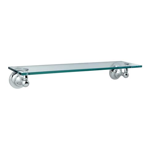 Chrome And Glass Bathroom Shelves Shop Gatco Tiara Chrome Glass Bathroom Shelf At Lowes