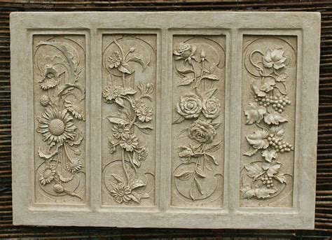 garden wall plaques uk four seasons wall plaque garden wall plaques find floral