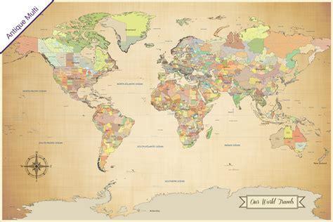 Push pin world travel map, family travel map, adventure