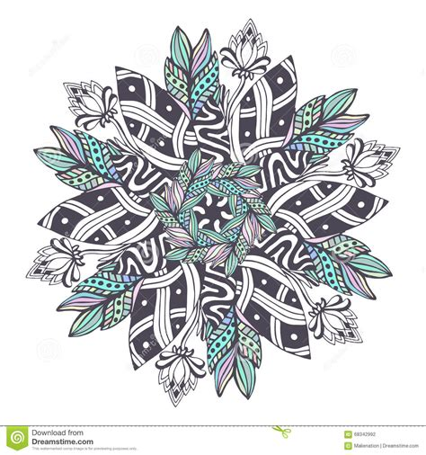 mandala vector in floral style zentangle for coloring