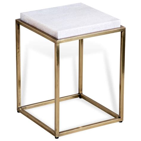 square brass side table carlton regency square white marble antique
