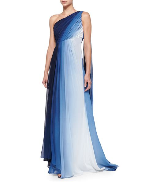 draped gown ml monique lhuillier one shoulder ombre draped gown in