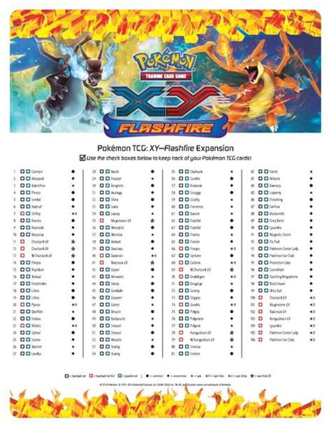 printable pokemon card checklist 7 best images of xy pokemon checklist printable list