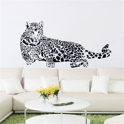 leopard home decor black pvc wall stickers cheetah leopard 3d removable wall