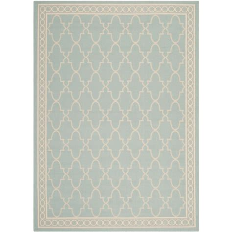 Home Depot Outdoor Rug Safavieh Courtyard Aqua Beige 4 Ft X 5 Ft 7 In Indoor Outdoor Area Rug Cy5142 223 4 The