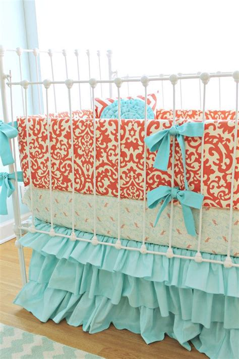 Coral Baby Crib Bedding Coral Crib Bedding Coral Aqua Damask Ruffles 3 By Lottiedababy 450 00 Baby Pinterest