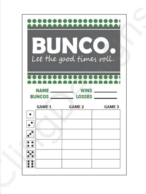 cards template sheet bunco score card instant pdf digital file