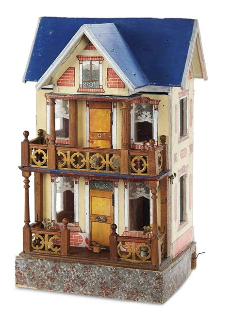 blue dolls house home at last antique doll and dollhouses 156 german wooden blue roof doll house