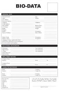 personal data form template sle personal biodata sle resume format