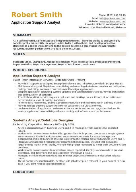 application support experience resume format application support analyst resume experience krida info