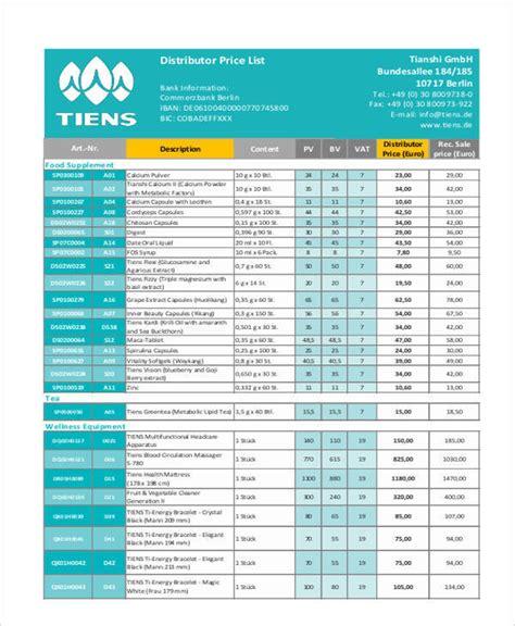 distributor price list template 44 price list sles templates pdf doc