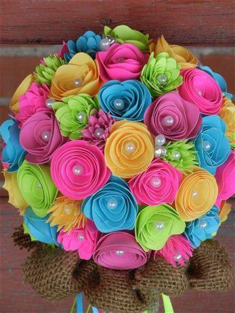 Handmade Flower Bouquets - handmade paper flower wedding bouquet bright colors pink