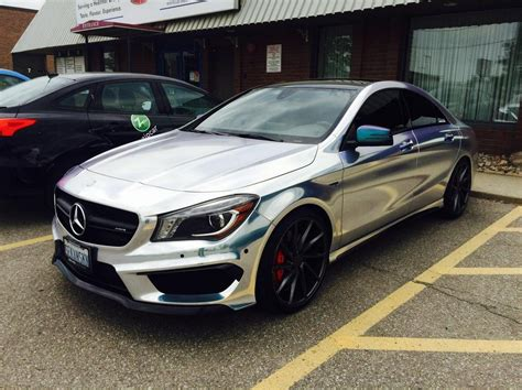 Mercedes Chrome by Mercedes Cla250 Chrome Wrap With Black Accents