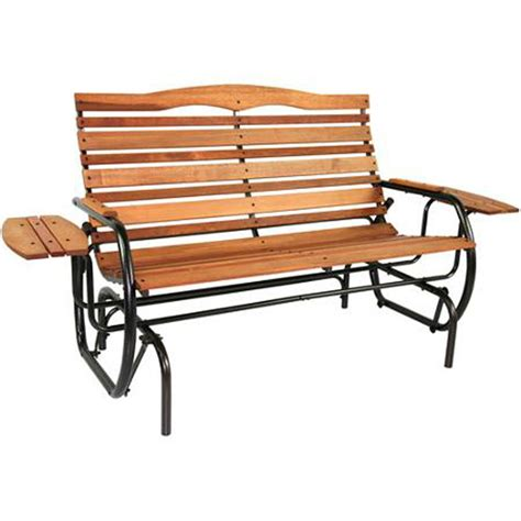 bench glider outdoor glider bench with tray wood patio furniture garden