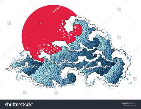 picture illustration asian illustration ocean waves sun isolated stock vector