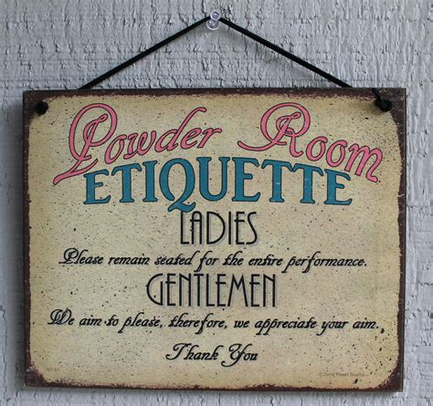 bathroom plaques powder room sign etiquette bathroom ladies men decor guest