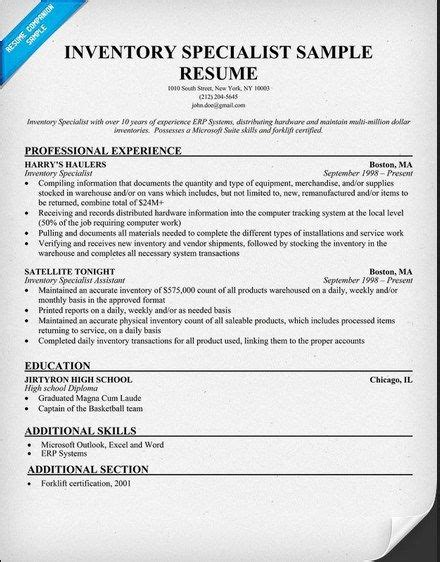 Inventory Specialist Sle Resume by 517 Best Images About Resume On Entry Level Resume Builder And Acting Resume