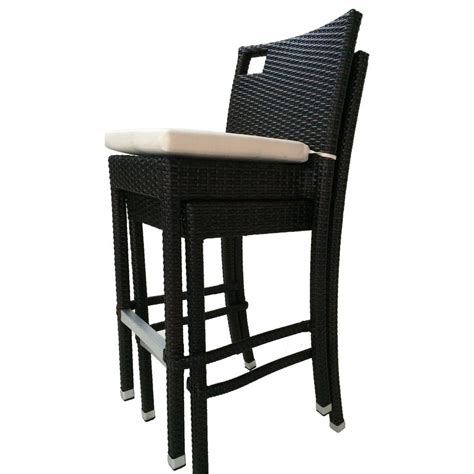 Outdoor Bar Stools White by Sydney Stackable Wicker Outdoor Bar Stool With White